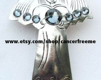 Brain Cancer Awareness Angel Pin or Brooch, Cancer Awareness, Jewelry, Gray, Crystals, Handmade, Angels, Gift for Her
