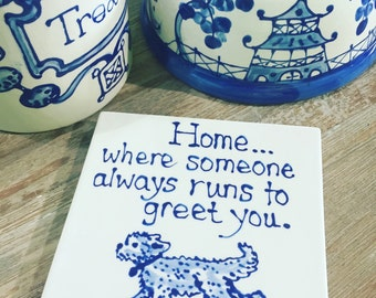 Home is where...Goldendoodle trivet  COPYRIGHT