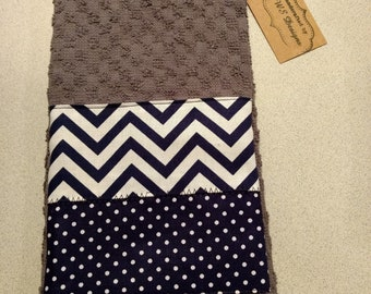 Grey Chevron/polka dot embellished towel