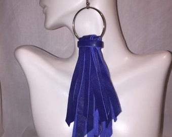 Royal Blue / Blue Leather Fringe Earrings