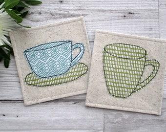 Fabric coasters, Decorative Coasters, Modern Decor, Housewarming Gift, Textile Coasters, Tea Coasters, Drink Coasters, Fabric Gift