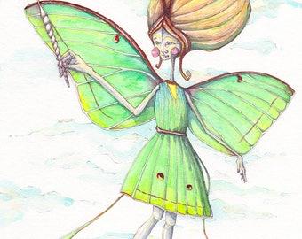 Lunamoth Girl - 8x10 Fine Art Print