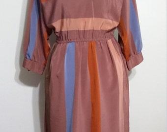 Secretary dress, S, fall colors dress, brown dress, taupe dress, striped dress, designer dress, brown dress, fall dress