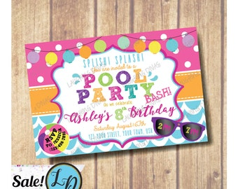 SALE!!! Pool Birthday Party Invitation; Pool Party Invitation