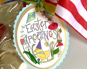 Easter Greetings Chick gift tag ***download printable