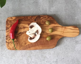Olive Wood Cutting Board / Chopping Board, small, rectangular shape, with handle - 11 x 5.5''