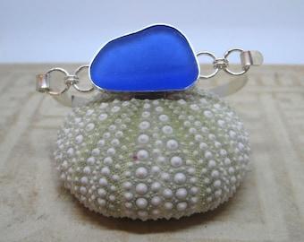 Sea Glass Bangle - Cobalt Blue Sea Glass and Sterling Silver Bangle Bracelet