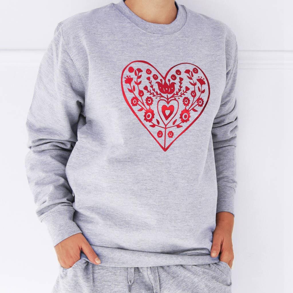 Nordischen Herz Weihnachten Pullover Sweatshirt