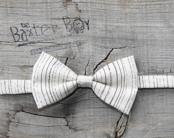 READY TO SHIP --- Brown and Cream lined little boy bow tie - photo prop, wedding, ring bearer, accessory