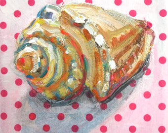 Melonganes Seashell original mixed media still life painting by Polly Jones
