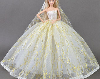 03#Bride in Long Veil Wedding Dress Set-Women Girl's Birthday Christmas Gift DIY Handmade Lace Barbie Doll Dress Princess Evening Party Gown