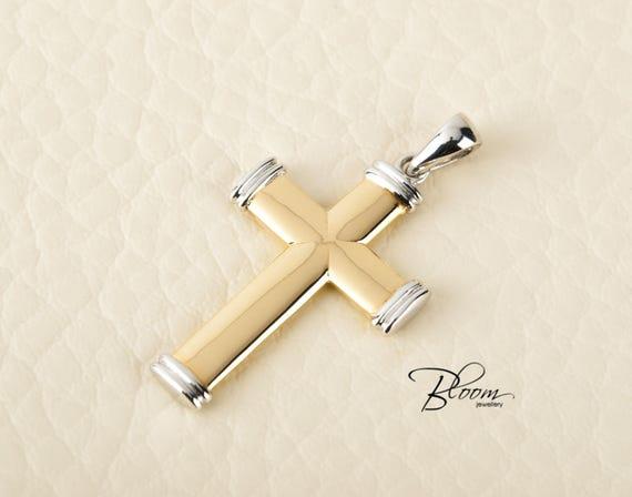 Mens gold cross pendant necklace for men cross pendant solid aloadofball Choice Image