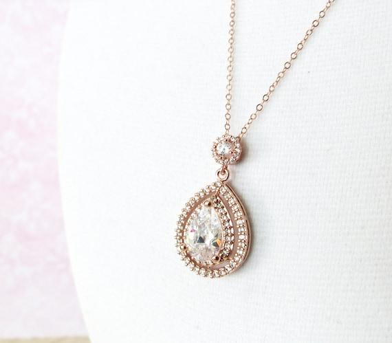 Rose Gold Deluxe Cubic Zirconia Teardrop necklace, Halo style crystal necklace, Rose Gold brides bridesmaid necklace, brides wedding jewelry