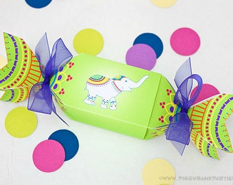 Henna Ganesha Favor Box - Lime : DIY Printable India Inspired Favor | Indian Party Popper | Genesh Confetti Cracker - Instant Download