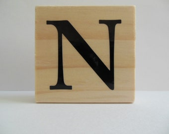 Letter N Rubber Stamp - Black and White Collection - Wood Mounted Rubber Stamp - Alphabet Letter N Stamp