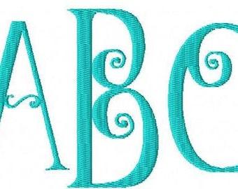 Machine Embroidery Design- Swirl Monogram Font - THREE SIZES - Instant Download