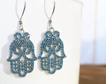Hamsa/ Khamsa / Hand of Fatima Earrings in Turquoise CZ Pave on Sterling Silver Artisan Wires