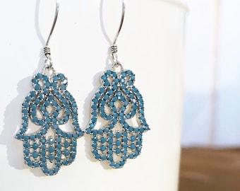 Hamsa / Khamsa / fils de main de Fatima boucles d'oreilles en Turquoise CZ pavé sur argent Sterling Artisan