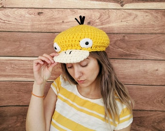 pokemon hat, psyduck, psyduck hat, newsboy hat, crochet hat, knit hat, pokemon cosplay, anime, gift for her, newsboy cap, gift for geeks