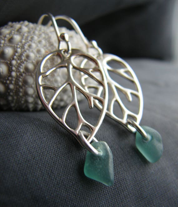 Sea Frond sea glass earrings in dark teal