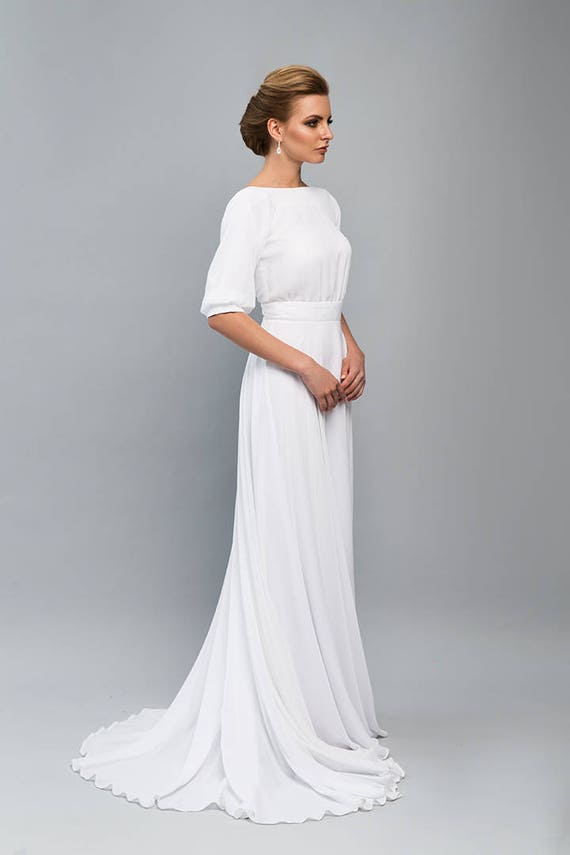 Öffnen Sie wieder Brautkleid / Boho Hochzeit Kleid / Vintage