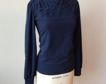 Damen Top, Jersey, lange Ärmel, gefaltet Detail, klassisch-Massanfertigung