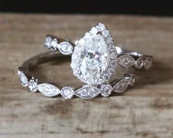 Art Deco C&C Moissanite Engagement Ring Set 5*8mm Pear Cut Forever One Moissanite Ring Half Eternity Wedding Ring 14K White Gold Bridal Set