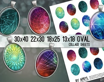 Space Geometry Digital Collage Sheet Oval 30x40 22x30 18x25 13x18 Oval Digital Collage Images for Glass Resin Pendants Cameo