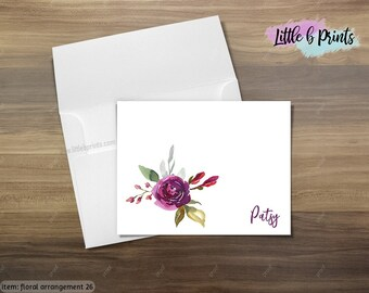 Flowers Roses Floral Watercolor Personalized Notecard Set of 10 cards with envelopes Stationery Set