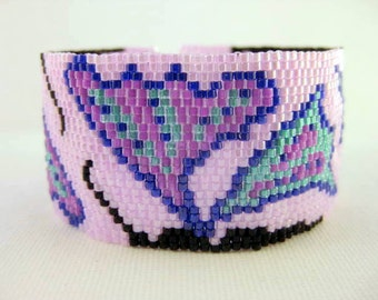 Peyote Bracelet /  Butterflies Bracelet / Beaded Bracelet / Beadwork Bracelet / Seed Bead Bracelet in Lilac, Blue and Green / Gift for Her