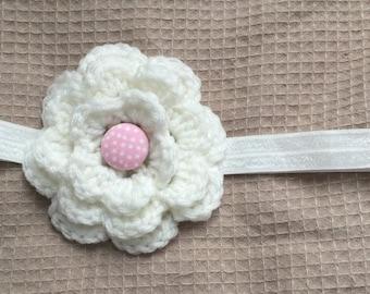 1 piece handmade crochet flower on elastic