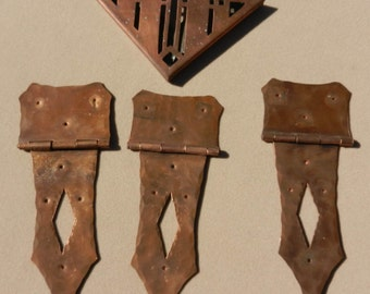 Vintage set of Copper Trunk Hinges and 1 Corner Deco Piece