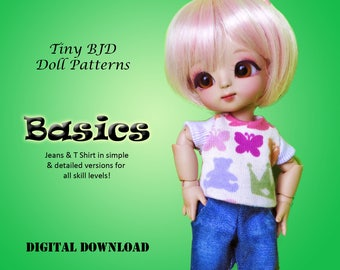 Jeans T-Shirt Basics clothes pattern for PukiFee Lati Yellow tiny delf & similar sized tiny BJD
