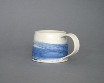 Blue swirl mug with matt glaze, unique brushstrokes, handthrown stoneware, contemporary, coffee cup, tea mug, present for him or her,