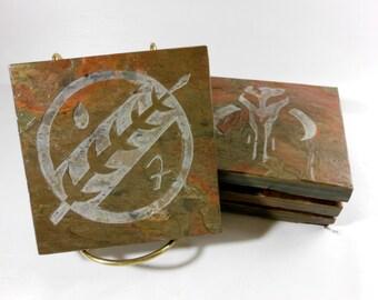 MANDALORIAN Symbol and Skull Coasters Set -Handmade Coasters, Carved Slate Coasters, Heavy Non Stick Coasters, Novelty Geeky Drink Coasters