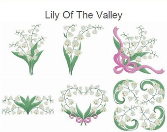 Lily Of The Valley - Machine Embroidery Designs Instant Download 4x4 5x5 6x6 hoop 13 designs SHE5156
