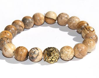 Beaded Men Bracelet Jasper Gemstone brown 10mm gold lion's head Precious Stones Men's Jewelry Birthday Gift for Men Him Husband boy friend
