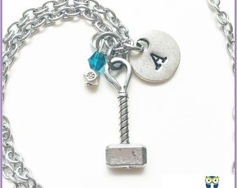 Thor Hammer Stamped Initial Tag Necklace, Mjolnir,  Personalized Necklace, Monogram, Stainless Steel, superhero necklace, pewter charm