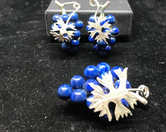 Vintage Sterling Silver and Lapis Lazuli Grape Bunch Brooch and Matching Clip On Earrings