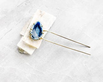 Dark Blue Crystal Hair Pin — Geode Hair Fork | gold u pin metal hair stick | navy blue agate comb hair accessory | gemstone festival hairpin