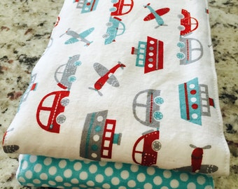 Planes, Boats, and Cars Burp Cloths