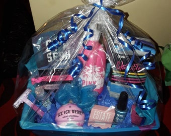 Blue Victorias secret beauty gift basket