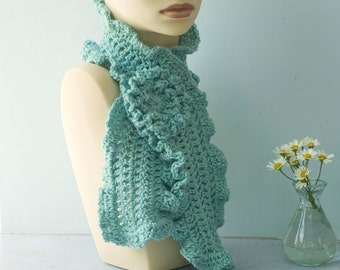 Custom Ruffle Scarf with Flower Scarf Pin, Chose Color, Crochet Flower Scarf, Vegan Winter Scarf