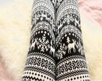 PLUS SIZE 12-20 Black White Winter Deer Leggings Buttery Soft