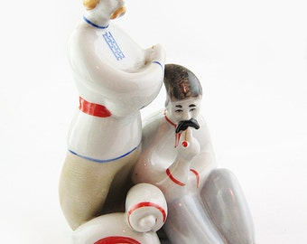 UKRAINIAN PEASANTS  Russian Soviet Porcelain Figurine Polonne 70s USSR
