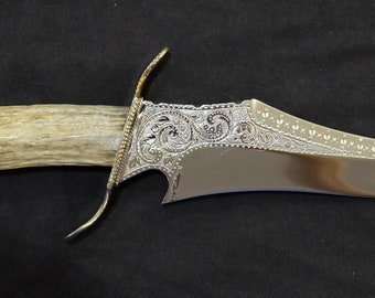 Bowie Hunting Knife Hand Made Native American Indian Blade Art by Renwa