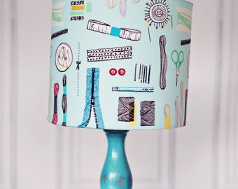 Sewing room, sewing accessories, lampshade, sewing gift, sewing gifts, craft room, gift for mum, sewing room décor, Lamps, Craft room lamp