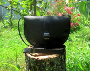 Crossbody leather bag Black bag Summer Messenger bag purse Gift for her Woman shoulder bag Small crossbody bag Handbag
