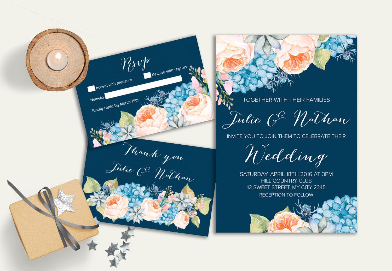 Navy And Peach Wedding Invitations: Navy Wedding Invitation Floral Wedding Invitation Suite Boho