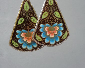 Vintage Tin Earrings Statement Earrings Soldered Hammered Leaves and Flowers Art Nouveau